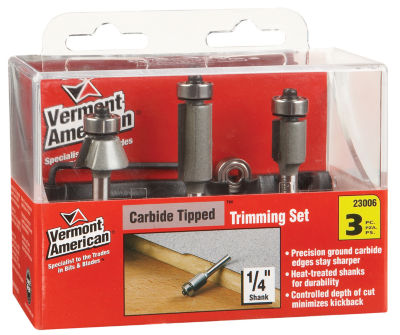 Vermont American 23006 3 Piece Trimming Router Bit Set