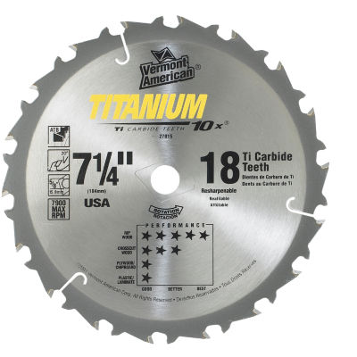 "Vermont American 27815 7-1/4"" 18 Tpi 10X Titanium Carbide Circular Saw Blades"
