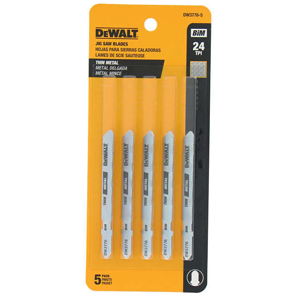 Dewalt Dw3776-5 3IN 24 Tpi Metal Cutting T- ShankJig Saw Blades