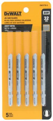 """Dewalt Dw3778-5 3"""" 32 Tpi Metal Cutting T-Shank Jig Saw Blades"""
