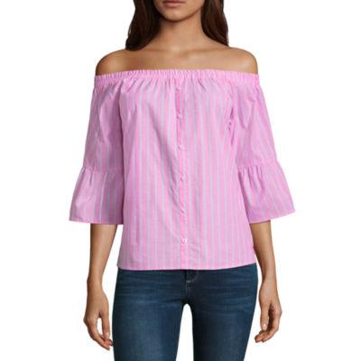 Us Polo Assn. 3/4 Sleeve Poplin Dress Shirt-Juniors
