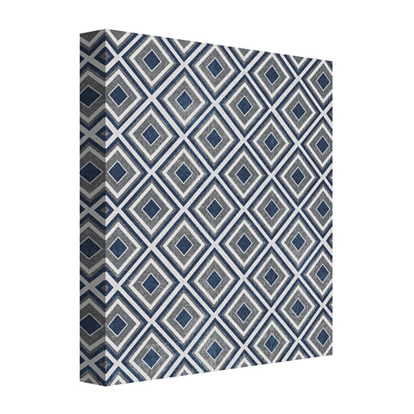Blue And White Greek Diamonds Canvas Art
