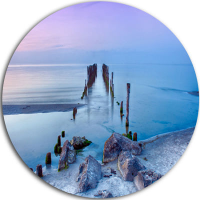 Design Art Old Pier and Bridge in Light Blue Sea Bridge Metal Circle Wall Art