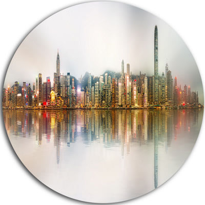 Design Art Singapore Financial District Panorama Ultra Glossy Cityscape Circle Wall Art