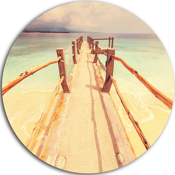 Design Art Large Wooden Pier at Gili Island Sea Bridge Metal Circle Wall Art