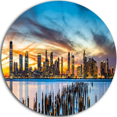 Design Art Jersey City Panorama at Sunset Ultra Glossy Cityscape Circle Wall Art