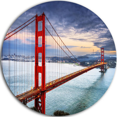 Design Art Golden Gate under Cloudy Sky Ultra Glossy Sea Bridge Metal Circle Wall Art