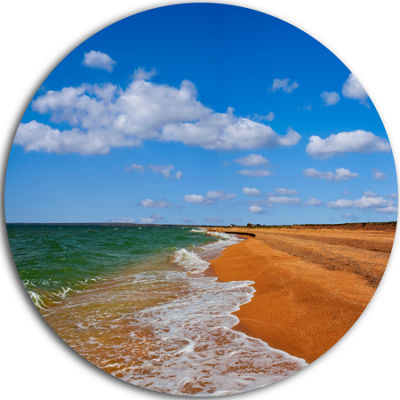 Design Art Green Waters on Winter Day Beach LargeSeashore Metal Circle Wall Art