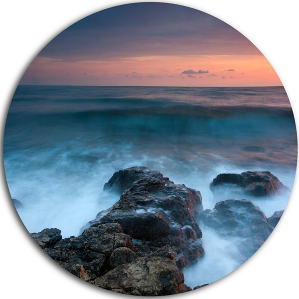 Design Art Rocky Beach and White Waves Large Seashore Metal Circle Wall Art