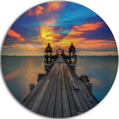 Design Art Wide Wooden Bridge into Distant Sun Pier Seascape Metal Circle Wall Art