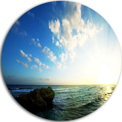 Design Art Evening Sea with Calm Waters Beach Metal Circle Wall Art