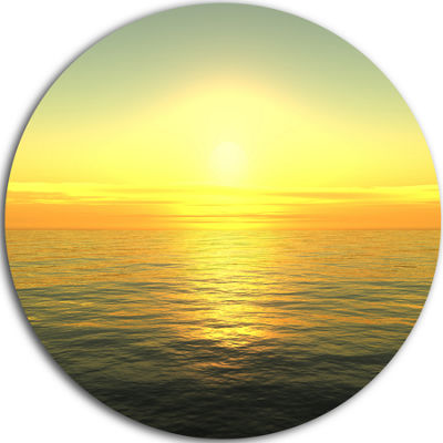 Design Art Brilliant Yellow Sunrise over Waters Beach Photo Metal Circle Wall Art