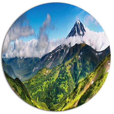 Designart Beautiful Green Mountains Panorama DiscLandscape Metal Circle Wall Art