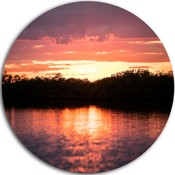 Design Art Sunset on Tropical Lagoon Landscape Round Circle Metal Wall Art