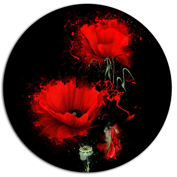 Designart Luxurious Red Poppy Flower on Black DiscFloral Metal Circle Wall Art
