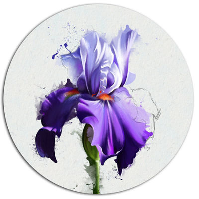 Designart Beautiful Blue Iris Watercolor Sketch Disc Floral Metal Circle Wall Art