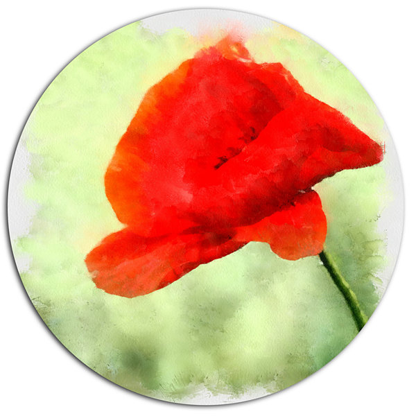 Designart Big Red Poppy Flower Watercolor Disc Floral Metal Circle Wall Art