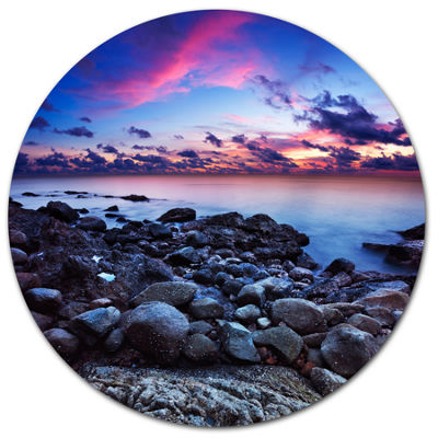 Designart Full Moon Fantasy Seascape Disc Large Landscape Metal Circle Wall Art