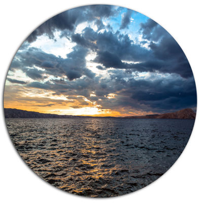 Designart Beautiful Seascape under Cloudy Sky DiscSeashore Metal Circle Wall Art