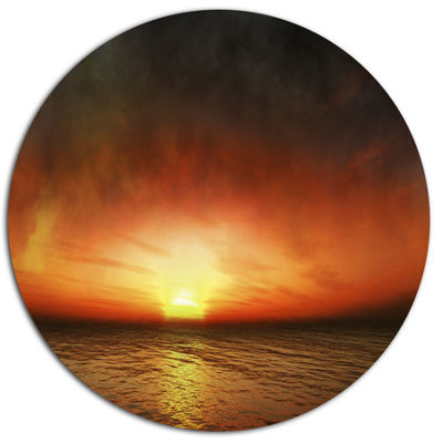 Designart Fiery Sunset Beach under Cloudy Sky DiscSeashore Metal Circle Wall Art