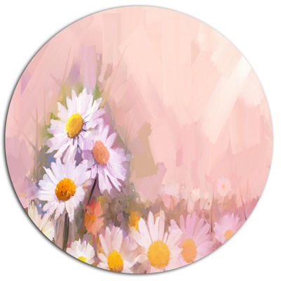 Designart Gerbera Flowers on Soft Color Back DiscFloral Metal Circle Wall Art