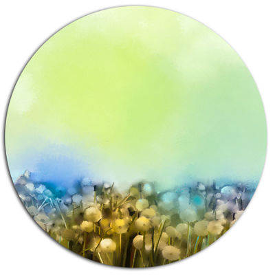 Designart White Flowers Garden in Soft Color DiscFloral Metal Circle Wall Art