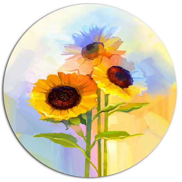 Designart Yellow Sunflowers with Green Leaves DiscFloral Metal Circle Wall Art