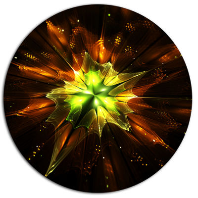 Designart Orange Yellow Green Fractal Flower DiscFloral Metal Circle Wall Art