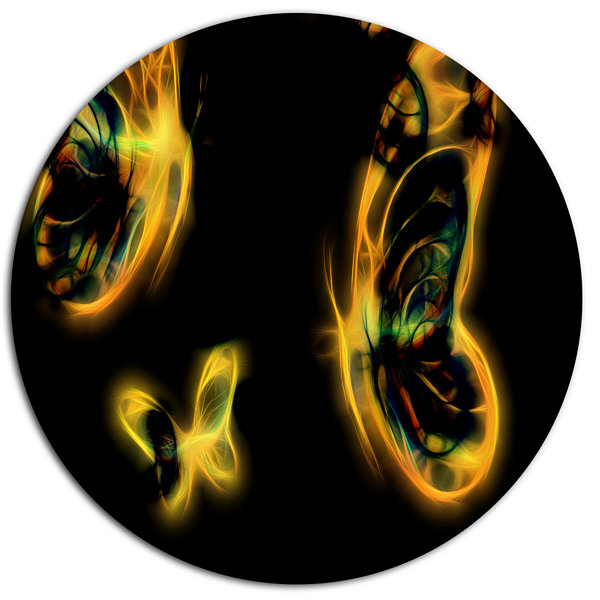 Designart Yellow Fractal Butterflies on Black DiscFloral Metal Circle Wall Art
