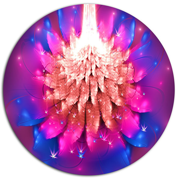 Designart Bright Pink Fractal Flower on Blue DiscFloral Metal Circle Wall Art
