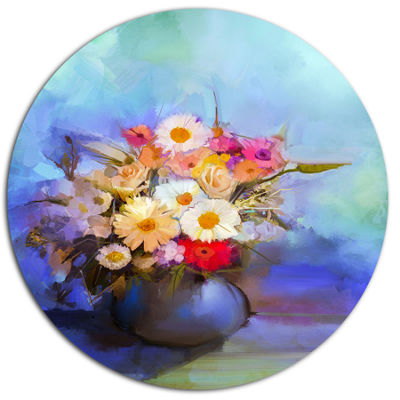 Designart Beautiful Flowers Bouquet on Blue Disc Large Floral Metal Artwork