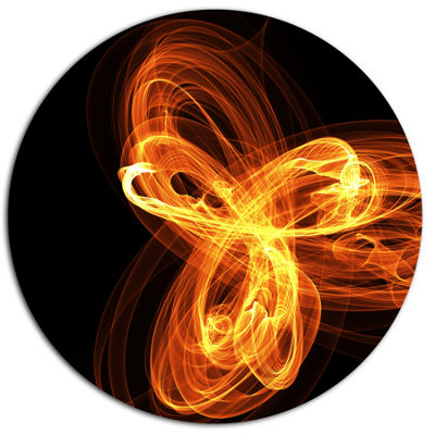 Designart Fractal Fire Pattern Painted in Air DiscLarge Abstract Metal Circle Wall Art
