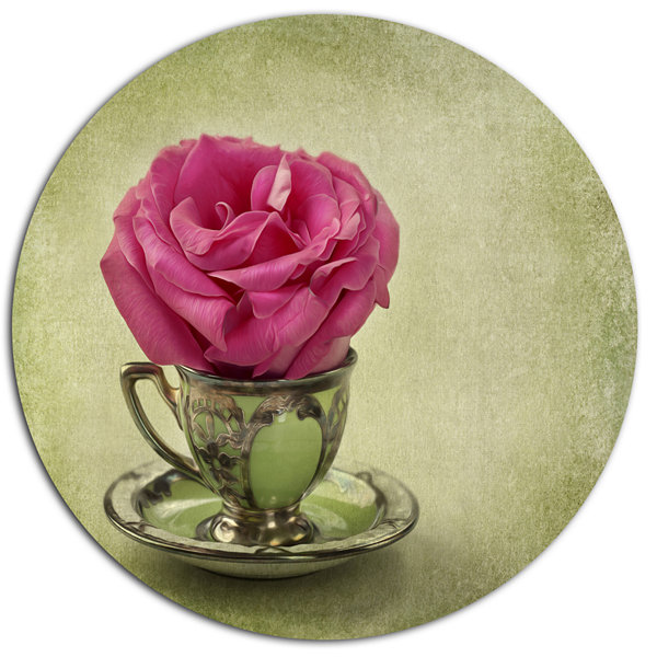 Designart Red Rose in Cup and Saucer Disc Floral Metal Circle Wall Art