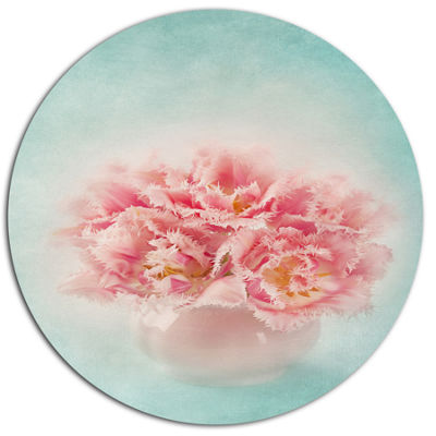 Designart Pink Tulips in Vase Photography Disc Floral Metal Circle Wall Art
