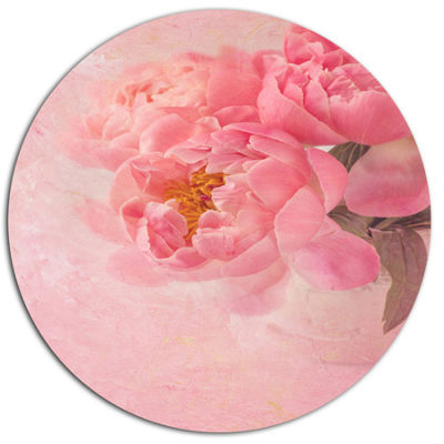 Designart Peony Flowers on Pink Background Disc Floral Metal Circle Wall Art