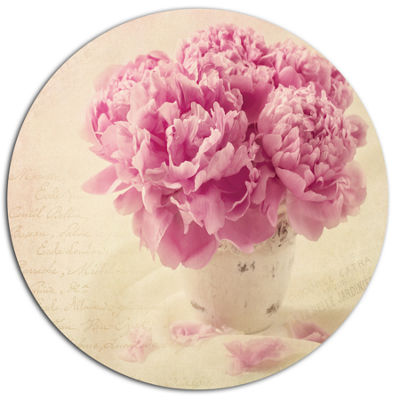 Designart Bunch of Peony Flowers on Table Disc Floral Metal Circle Wall Art