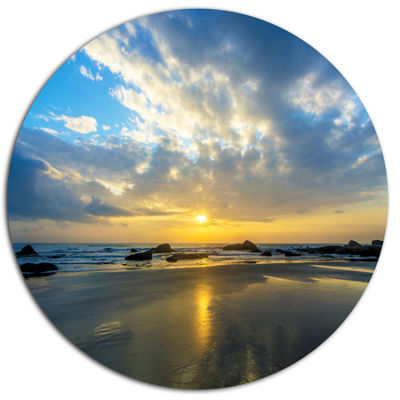 Designart Beautiful Sunrise and Seashore Disc Large Seashore Metal Circle Wall Art