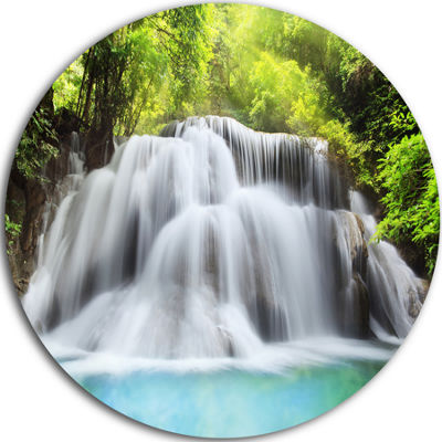 Design Art Huai Mae Kamin Waterfall Disc LandscapeCircle Metal Wall Art