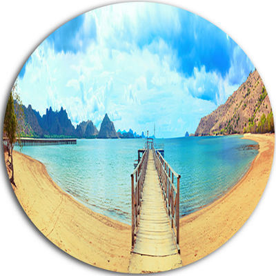 Design Art Komodo Panorama with Pier Disc Landscape Photography Circle Metal Wall Art