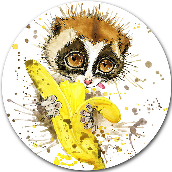 Design Art Lemur Eating Banana Graphics Art AnimalMetal Circle Wall Art