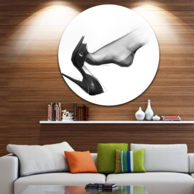 Design Art Leg Wearing High Heel Shoe Abstract Portrait Circle Metal Wall Art