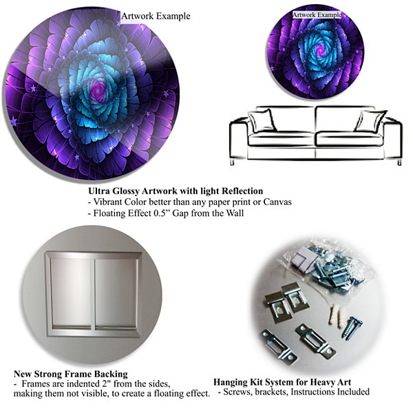 Design Art Lighted Blue Fractal Blue Flowers DiscFloral Circle Metal Wall Art