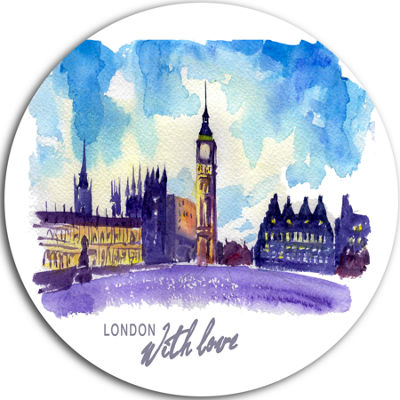 Design Art London Purple Illustration Disc Cityscape Painting Circle Metal Wall Art