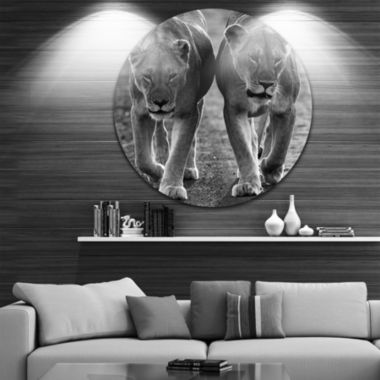 Design Art Lions in Black and White Large Animal Circle Metal Wall Art