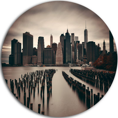 Design Art Manhattan Financial District CityscapePhoto Circle Circle Metal Wall Art