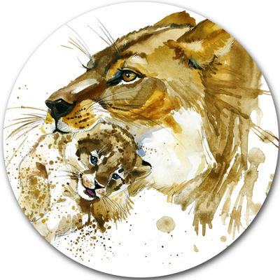 Design Art Lioness and Cub Illustration Animal Metal Circle Wall Art