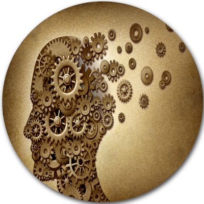 Design Art Mechanical Brain Disc Contemporary Circle Metal Wall Art