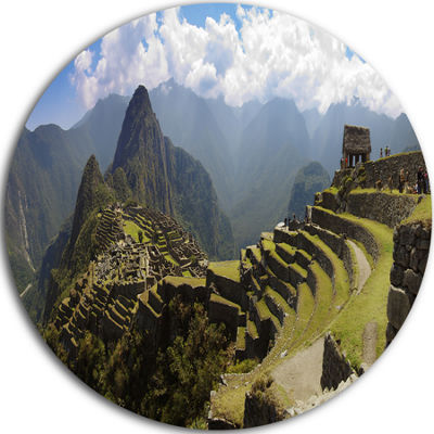 Design Art Machu Picchu Panorama Disc Landscape Photo Circle Metal Wall Art