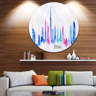 Design Art Colorful Dubai Silhouette Disc Cityscape Painting Circle Metal Wall Art