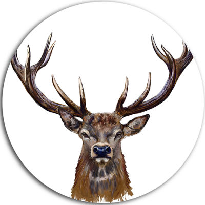 Design Art Deer Head in Front Illustration AnimalCircle Metal Wall Art